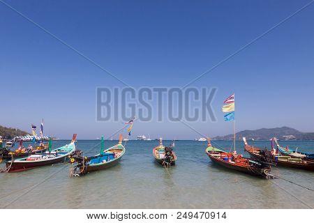 Traditional Thai Longtail Boat On Pathong Beach ,phuket ,thailand