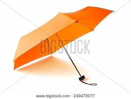 Single Orange Umbrella Isolated On White Background