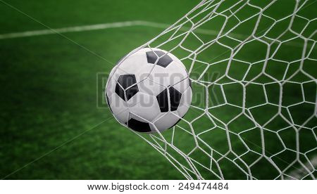 Soccer Ball On Goal With Net And Green Background, This Photo Can Use For Football, Sport, Goal, Sco