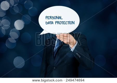Personal Data Protection, Sensitive Personal Data Protection And Gdpr Concepts. Business Person With