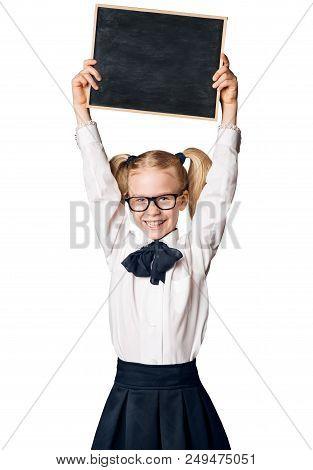 Child Girl Advertising School Blackboard, Kid In Glasses Raised Up Advertisement On Blank Chalkboard