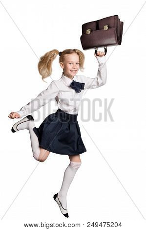Child Running Back To School, Girl Isolated Over White Background, Happy Kid In Schools Uniform With