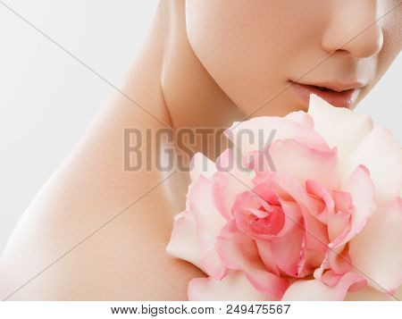 Beauty Fashion Portrait. Beautiful Woman With Makeup And Flowers. Inspiration Of Spring And Summer.