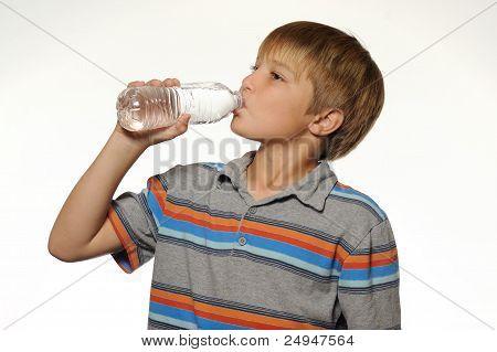 Boy Drinking Bottle of Water