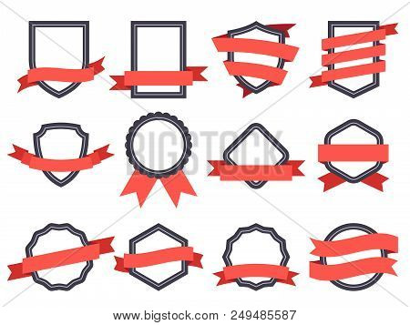 Flat Ribbon Banner Badge. Genuine Banners, Badging Frames With Ribbons And Circle Insignia Badges Fo