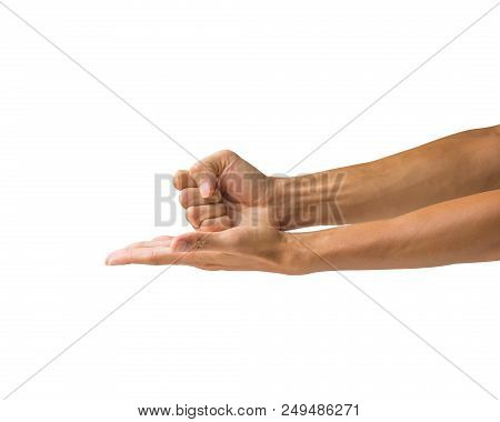 Man Hand Holding Fist Smash On Palm Isolated On White Background. Clipping Path Of Hand Isolated. Ha