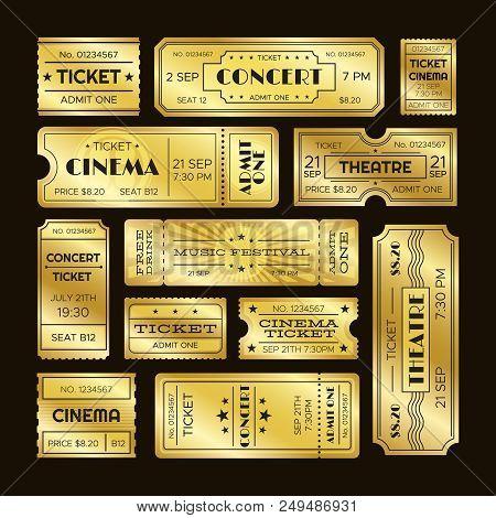 Golden Tickets. Admit One Gold Movie Ticket Set. Vip Party Theatre Concert Show Premiere Or Cinema P