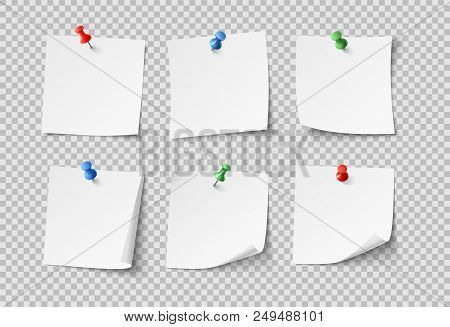 Note Papers. White Pin Blank Sticky Notes With Color Pins Post Notepaper. Nobody Paper Organize Offi