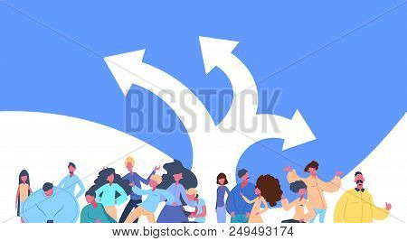 People Group Standing Over Directions Choice Arrows Decision Together Man Woman Character Diversity