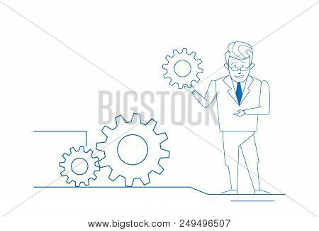Businessman Twisting Gear Wheel Working Process Service Concept Sketch Doodle Horizontal Full Length