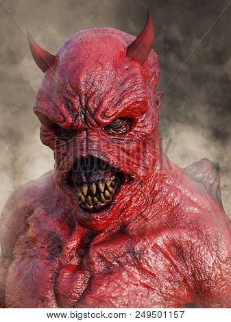 Head Portrait Of A Mean Looking Demonic, Red Devil With Horns, 3d Rendering. He Is Surrounded By Smo