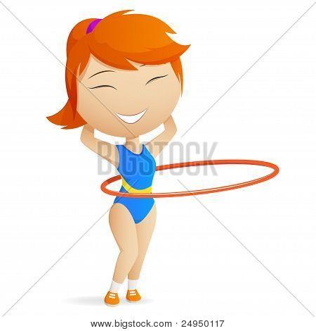 Girl Gymnast With Red Hula-hoop.