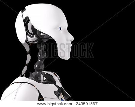 Head Portrait Of A Female Robot, 3d Rendering. Black Background.