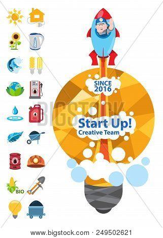 Start Up, Creative Team, Energetics, Start Up With Energetics Icons