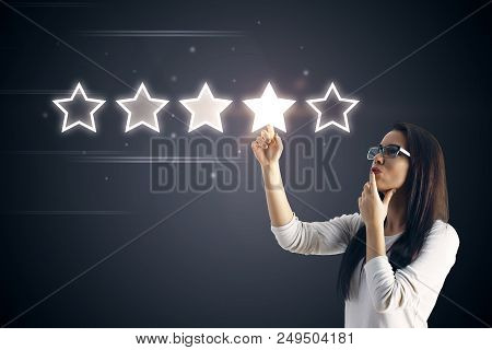 5 Five Stars Rating Quality Review Best Service Business Internet Marketing Concept With Businesswom
