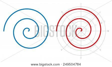 Archimedean Spiral On White Background. Three Turnings Of One Arm Of An Arithmetic Spiral, Rotating