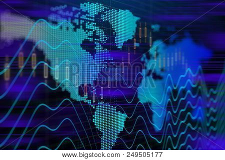 Finance Concept With Stock Exchange Graphs, Stock Market Graphs And Bar Chart Price Display. Live St
