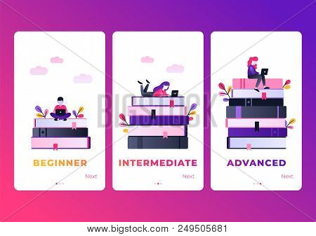 Onboarding Set For Mobile App. Flat Vector Characters Working With Laptop. Modern Ultra Violet Gradi