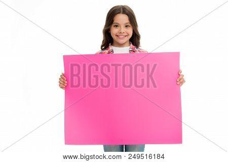 Advertisement. Little Girl Hold Paper For Advertisement. Advertisement Child With Place For Copy Spa