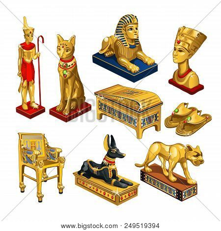 Set Of Attributes And Jewelry On The Theme Of Ancient Egypt Isolated On White Background. Golden Fig