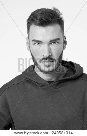 Hair Concept. Man With Beard And Haircut In Hair Salon. Bearded Man With Stylish Hair. Flair For Hai