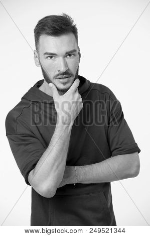 Look Concept. Young Man Touch Beard With Serious Look. Making Beard Look Stylish. Used To Look Perfe