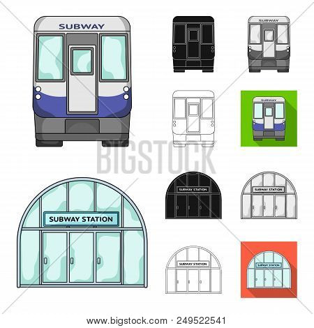 Metro, Subway Cartoon, Black, Flat, Monochrome, Outline Icons In Set Collection For Design.urban Tra