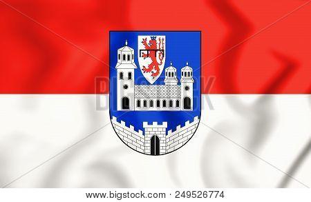 3d Flag Of Wipperfuerth (north Rhine-westphalia), Germany. 3d Illustration.