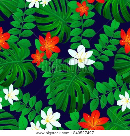 Summer Tropic Background. Tropical Seamless Pattern. Exotic Leaves Repeated Texture. Vector Card. Co