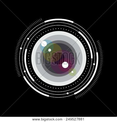 Lens Simple Illustration. Glass Lens With Scale And Graduation. Photo Storage Or Photo Library Pictu