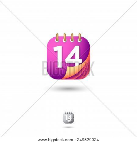 Calendar Icon, Ui. Organizer Or Diary Emblem. Dates And Numbers Icons. Rounded Square Symbol With Sh