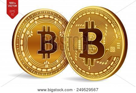 Bitcoin And Bitcoin Cash. 3d Isometric Physical Coins. Digital Currency. Cryptocurrency. Golden Coin