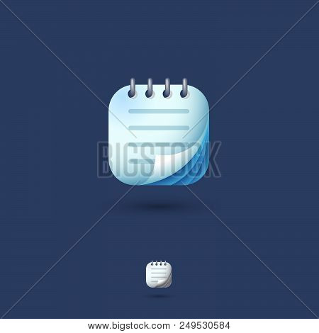Notepad, Notebook Ui Icon. Notebook, Notes, Organizer, Memo Emblem. Rounded Square On A White Backgr