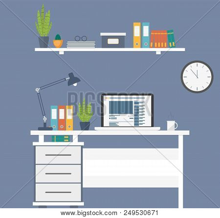 Workplace Room Interior Business Office Or Home. Modern Illustration With Furniture For Work Place R