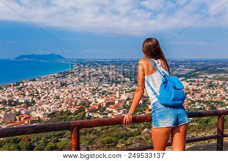 Young Tourist Woman And Sea Landscape With Terracina, Lazio, Italy. Scenic Resort Town Village With
