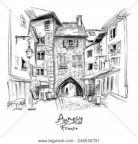 Vector Black And White , City View With Gorgeous Medieval Arch Gate Sepulchre Gate On The Street Rue