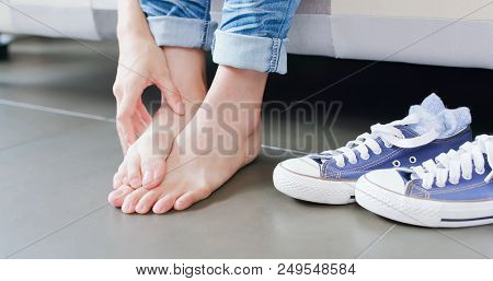 Close Up Woman Athlete Foot With Health Concept