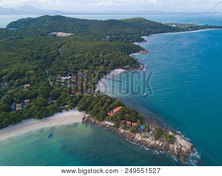 Aerial View Of The Sea And Mountains Of Koh Samet, Thailand.