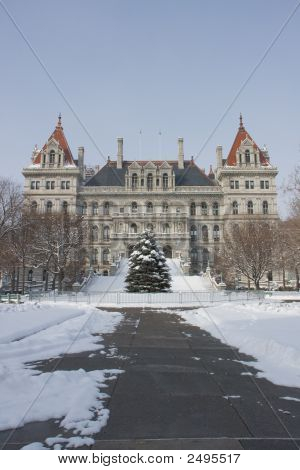 New York State Capitol In The Snow