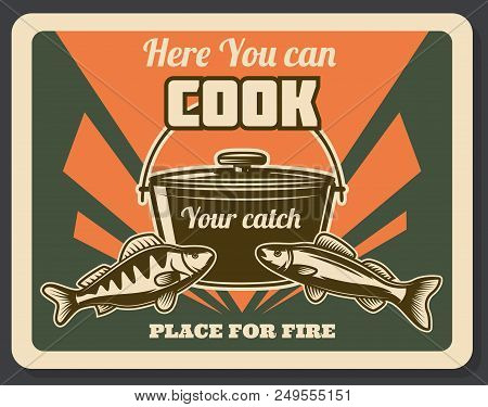 Fishing Retro Poster Place For Fire Emblem. Poster Pointing On Place Where You Can Cook Your Catch A