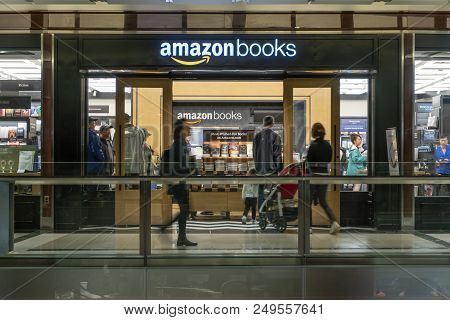 New York, Usa - May 20, 2018: People Visiting The Amazon Books Store In New York City. It Is A Chain