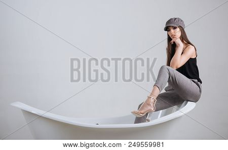 Relax Concept. Pretty Woman Relax On Bath. Adorable Girl Relax In Bathroom. Time To Relax. No Stress