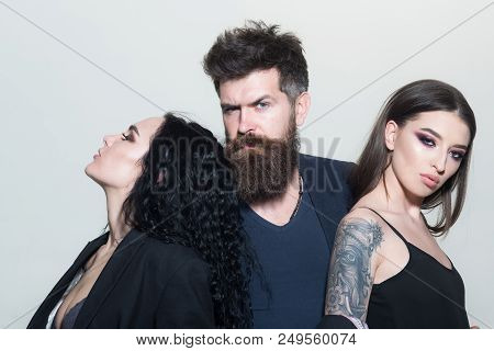 Salon Concept. Bearded Man Hug Beautiful Women, Beauty Salon. Beauty Salon. Hair And Barber Salon. L