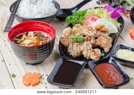 Chicken Karaage Recipe, Japanese Food Fried Chicken Whit Soup And Rice.
