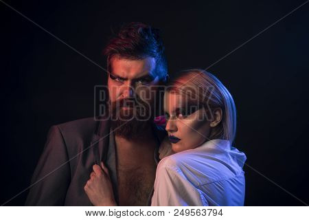 Couple In Love. Bearded Man And Pretty Woman, Couple In Love. Sensual Couple In Love. Couple In Love