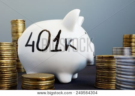 Retirement plan. Piggy bank with word 401k. poster