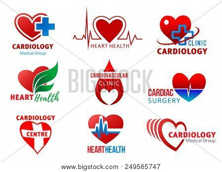 Heart And Cardiovascular Health Red Icons Isolated. Cardiology Medical Group, Cardiac Surgery And Ca