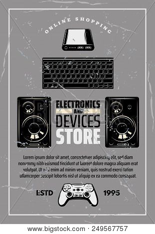 Modern Devices And Electronics Shop Old Monochrome Crumpled Poster. Big Powerful Loud Speakers, Comp