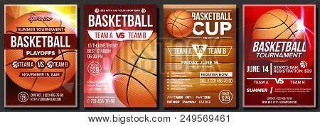 Basketball Poster Vector. Design For Sport Bar Promotion. Basketball Ball. Modern Tournament. Game E