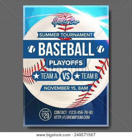 Baseball Poster Vector. Sports Bar Event Announcement. Ball. Banner Advertising. Professional League